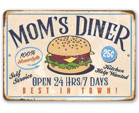 "Image of Mom's Diner - Durable Metal Sign - 8"" x 12"" or 12"" x 18"" Use Indoor/Outdoor - Dining Room and Kitchen Decor - Great Mother's Day Gift Lone Star Art 8 x 12"