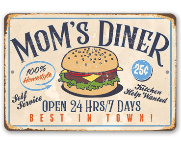 "Mom's Diner - Durable Metal Sign - 8"" x 12"" or 12"" x 18"" Use Indoor/Outdoor - Dining Room and Kitchen Decor - Great Mother's Day Gift Lone Star Art 8 x 12"