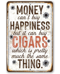 "Money Can Buy Cigars- Durable Metal Sign - 8"" x 12"" or 12"" x 18"" Use Indoor/Outdoor -Great Cigar Bar Decor Lone Star Art 8 x 12"