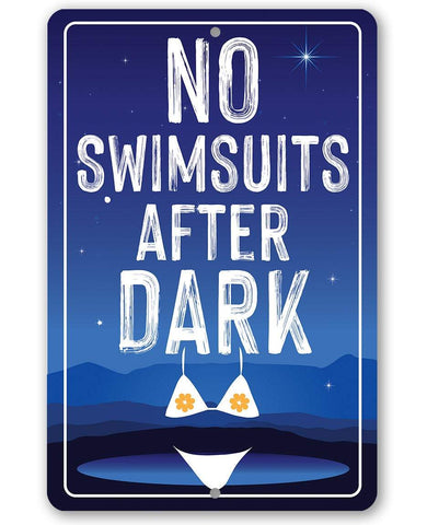 No Swimsuits After Dark - Metal Sign Metal Sign Lone Star Art 8 x 12