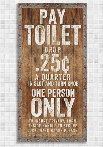 "Image of Pay Toilet - Canvas Lone Star Art 12"" x 24"""