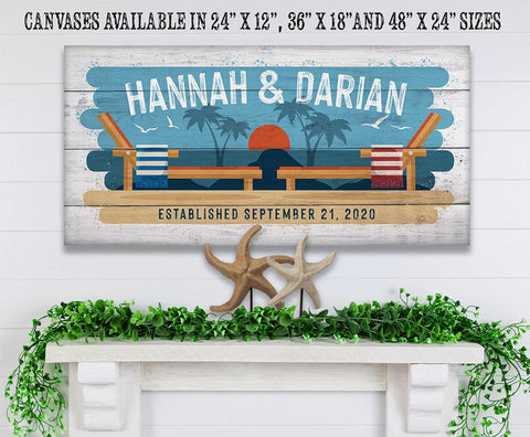Image of Personalized - Beach Chairs - Canvas Lone Star Art