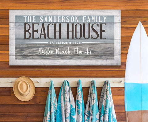 Image of Personalized - Beach House - Canvas