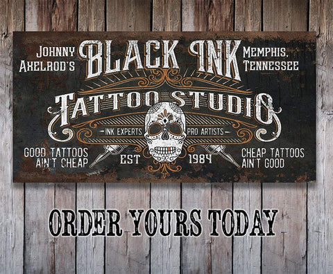 Image of Personalized - Black Ink Tattoo - Canvas