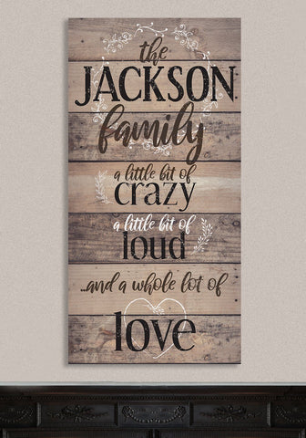 "Image of Personalized-Family A Little Bit Of Crazy Large Canvas (Not Printed on Wood) - Stretched on a Heavy Wood Frame - Perfect Housewarming Gift Wall Hangings Lone Star Art 12""x24"" Stretched"