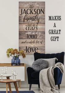 Personalized-Family A Little Bit Of Crazy Large Canvas (Not Printed on Wood) - Stretched on a Heavy Wood Frame - Perfect Housewarming Gift Wall Hangings Lone Star Art