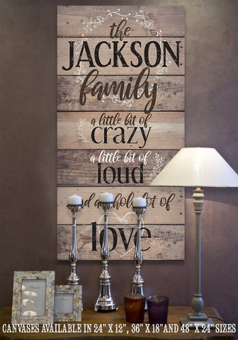 Image of Personalized-Family A Little Bit Of Crazy Large Canvas (Not Printed on Wood) - Stretched on a Heavy Wood Frame - Perfect Housewarming Gift Wall Hangings Lone Star Art