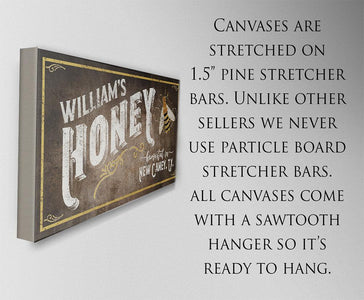 Personalized-Family Honey Bee Keeper-Large Canvas(Not Printed on Metal)-Stretched on Wood-Farmhouse Decor