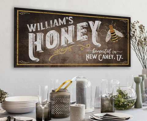 Image of Personalized-Family Honey Bee Keeper-Large Canvas(Not Printed on Metal)-Stretched on Wood-Farmhouse Decor