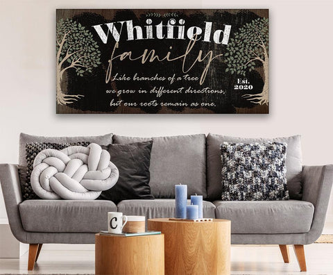 Image of Personalized - Family Like Branches - Canvas