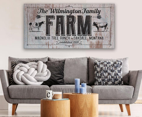 Image of Personalized - Family Name Farm - Canvas.
