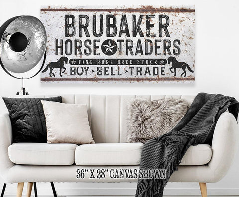 Image of Personalized - Family Name Horse Market - Canvas