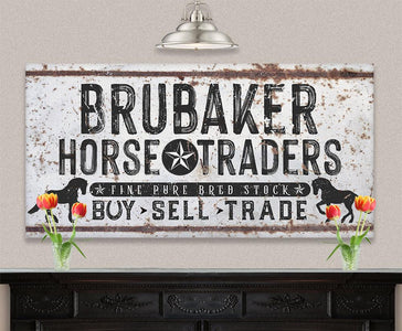 Personalized - Family Name Horse Market - Canvas