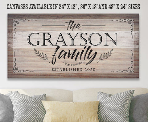 "Image of Personalized-Family Name Large Canvas(Not Printed on Wood)-Stretched on Heavy Wood Frame-Perfect Above a Couch-Great Housewarming Gift Wall Hangings Lone Star Art 12""x24"" Stretched"