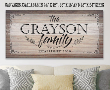 "Personalized-Family Name Large Canvas(Not Printed on Wood)-Stretched on Heavy Wood Frame-Perfect Above a Couch-Great Housewarming Gift Wall Hangings Lone Star Art 12""x24"" Stretched"