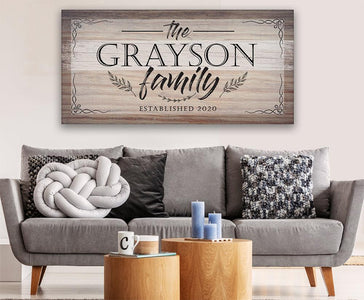 Personalized-Family Name Large Canvas(Not Printed on Wood)-Stretched on Heavy Wood Frame-Perfect Above a Couch-Great Housewarming Gift Wall Hangings Lone Star Art