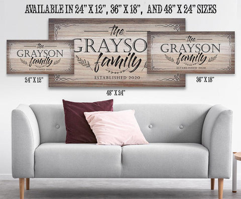 Image of Personalized-Family Name Large Canvas(Not Printed on Wood)-Stretched on Heavy Wood Frame-Perfect Above a Couch-Great Housewarming Gift Wall Hangings Lone Star Art