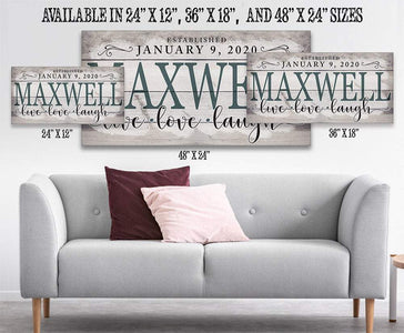 Personalized-Family Name Large Canvas(Not Printed on Wood)-Stretched on Heavy Wood Frame-Perfect Above Couch/Living Room - Housewarming Gift