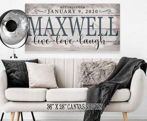 Image of Personalized-Family Name Large Canvas(Not Printed on Wood)-Stretched on Heavy Wood Frame-Perfect Above Couch/Living Room - Housewarming Gift