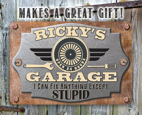 "Image of Personalized Garage Metal Workshop Sign - 8"" x 12"" or 12"" x 18"" Indoor/Outdoor - Customized Name Garage Mechanic and Auto Shop Decor."