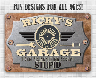 "Personalized Garage Metal Workshop Sign - 8"" x 12"" or 12"" x 18"" Indoor/Outdoor - Customized Name Garage Mechanic and Auto Shop Decor."