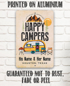 Personalized - Happy Campers - Metal Sign.