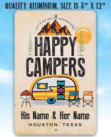 Image of Personalized - Happy Campers - Metal Sign.