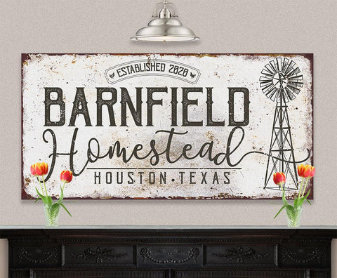 Image of Personalized - Homestead Windmill - Canvas