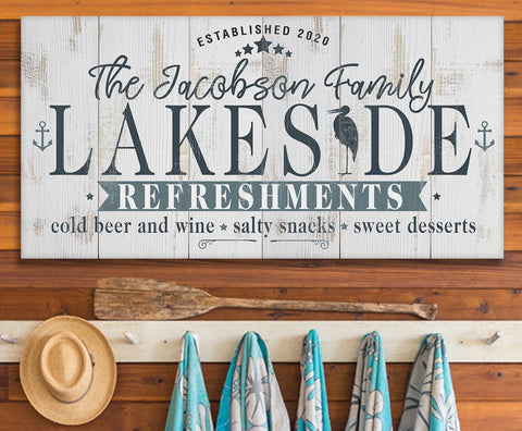 "Personalized - Lakeside Refreshments - Canvas Lone Star Art 12"" x 24"""