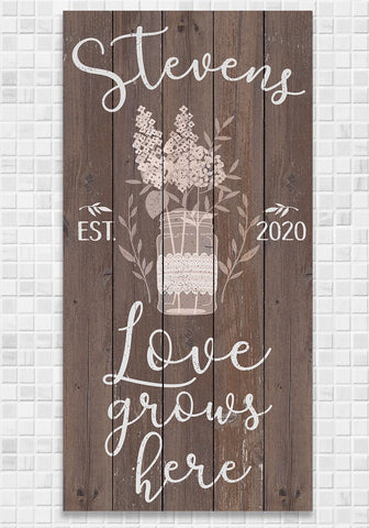 Image of Personalized - Love Grows Here - Canvas