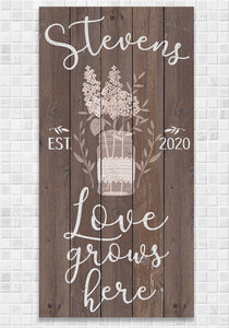 Personalized - Love Grows Here - Canvas