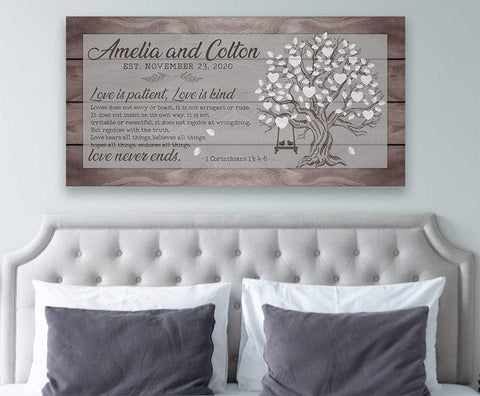 Image of Personalized - Love Is Patient Tree - Canvas.