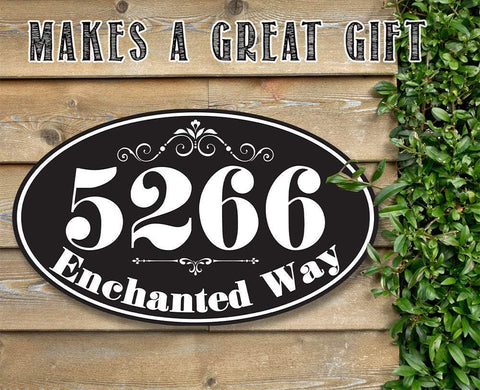 Image of Personalized - Address Plaque - Oval - Metal Sign.