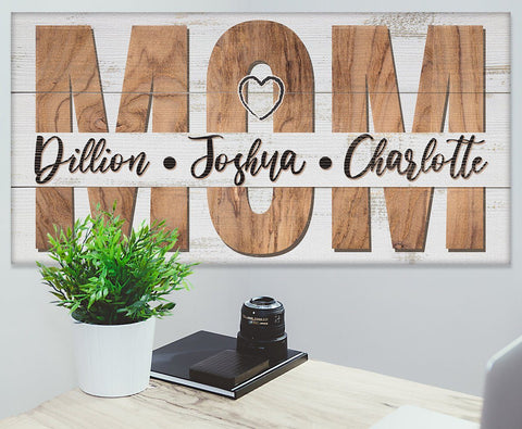 Image of Personalized - Mom and Children - Canvas.