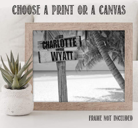Image of Personalized Names Sign Post Art - Beach.