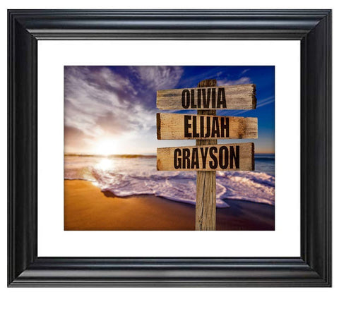 Image of Personalized Names Sign Post Art - Sunset Beach.