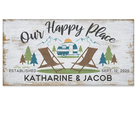 "Image of Personalized - Our Happy Place Camping - Canvas Lone Star Art 12"" x 24"""