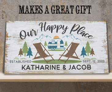 Personalized - Our Happy Place Camping - Canvas Lone Star Art