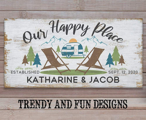 Image of Personalized - Our Happy Place Camping - Canvas Lone Star Art