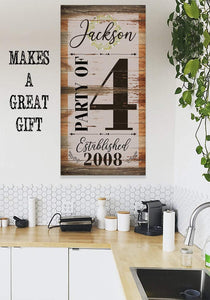 Personalized - Party of 4 - Canvas