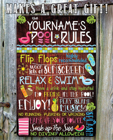 Personalized- Pool Rules - Metal Sign.