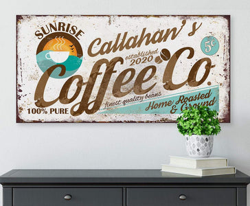 "Personalized - Sunrise Coffee Co - Canvas Lone Star Art 12"" x 24"""