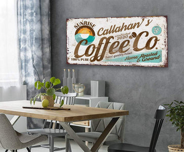 Personalized - Sunrise Coffee Co - Canvas Lone Star Art