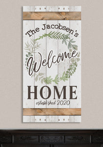 "Personalized - Welcome - Canvas Lone Star Art 12"" x 24"""