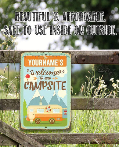 Image of Personalized - Welcome To Our Campsite - Metal Sign.