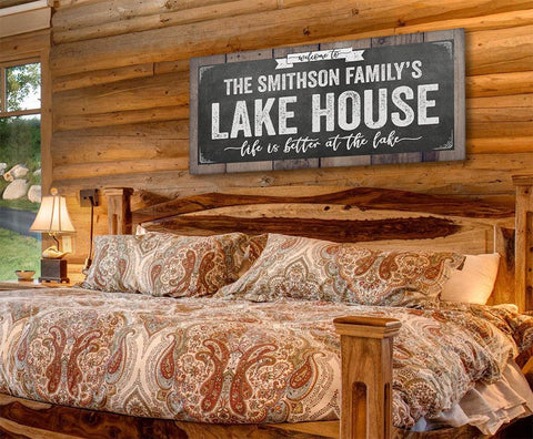Image of Personalized - Welcome To Our Lake House - Canvas.