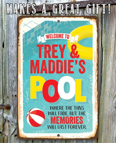 Personalized - Welcome To Our Pool - Metal Sign.