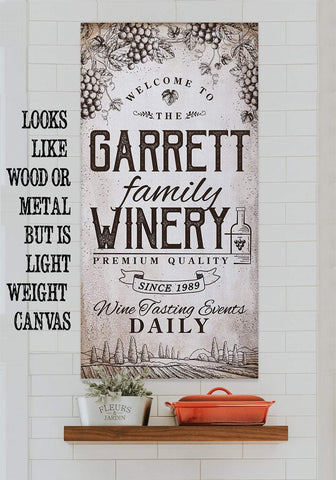 Image of Personalized - Winery Family - Canvas.