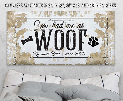 Image of Personalized - You Had Me At Woof - Canvas.