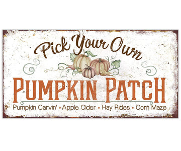 "Pick Your Own Pumpkin - Canvas Lone Star Art 12"" x 24"""